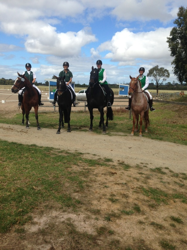 From left: Melinda on Cooper, Lisa on , Charlotte on Simba and Shaye on GT.